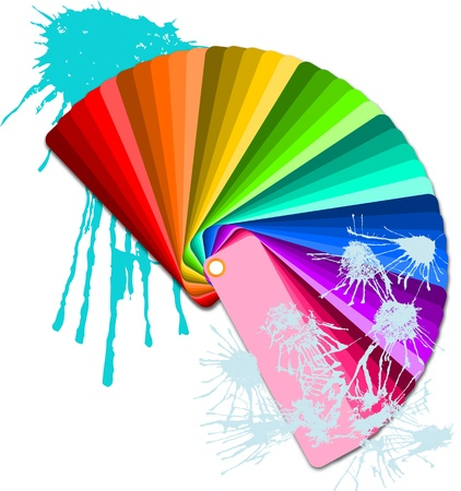 paint swatch: muestras de color con pintan salpica Vectores