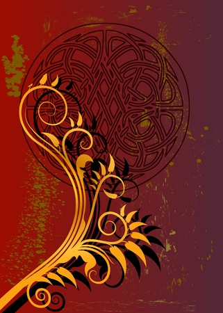 red and gold flloral background design Vector