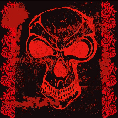 Grunge vector with skull and paint splatters Vector