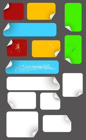 conjunto de etiquetas adhesivas, blanco, color y grungy