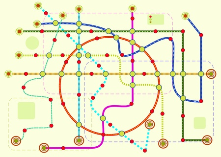 space station: public transport or tube map, vector format