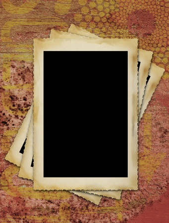 blank vintage photographic picture frames, large border,grungy background photo
