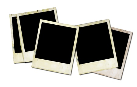 grungy instant photo frames, isolated on white background photo
