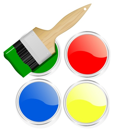 set of colorful paint cans and paint brush Stock Vector - 9697743