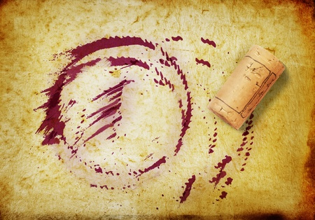 red wine stain: Cork and whine stains Stock Photo