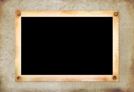 Textura de papel antiguo de om Vintage fotogr�fico imagen en blanco marco