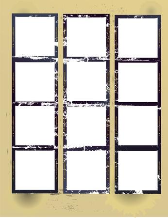 grunge photo frame: medio formato sgangherata stampato un provino con cornici vuote, vector