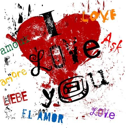 Grungy Sytle Liebe Konzept Standard-Bild - 9697754