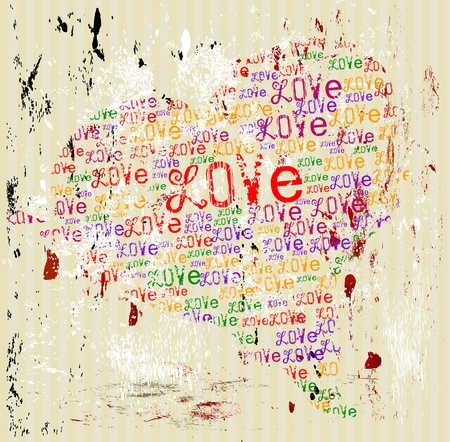 Grungy style love concept,vector format