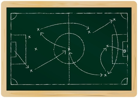 career coach: Soccer tactic diagram on a chalkboard,isolated, vector format