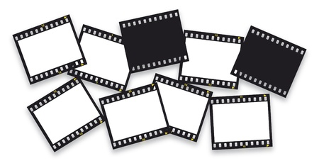 negativity: pieces of filmstrips isolated on white Illustration