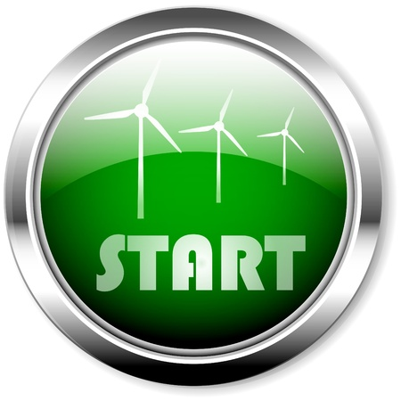 push button, start wind energy,conceptual Vector