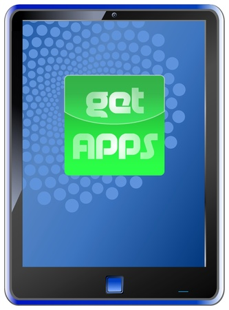 fictional  smartphone with button: get apps Stock Vector - 9804603
