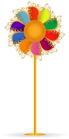 pinwheel toy: colorful windmill, ornamented, vector