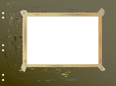 deckle: Vintage blank picture frame, mounted on old sheet with paint splatters