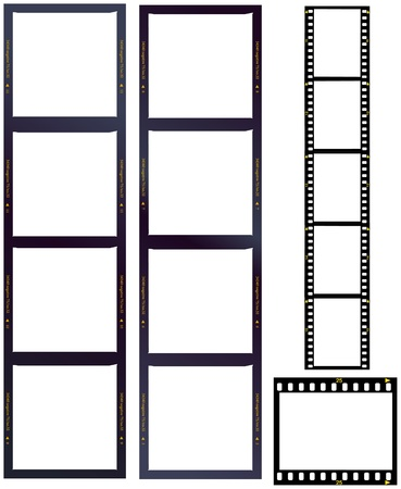set of film strips, medium and standard format, blank frames
