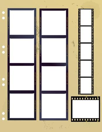35 mm: film strips, medium and standard format,old paper sheet Illustration