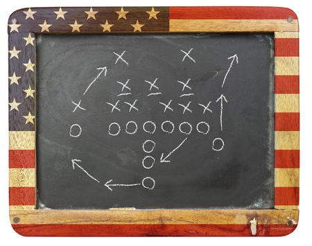 american football tactic scheme an a black board Stock Photo - 10037787