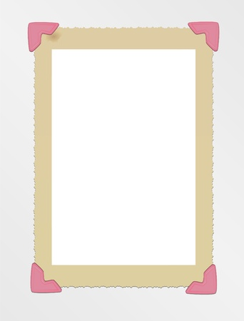 vintage photo frame, mounted with photo corners Vector