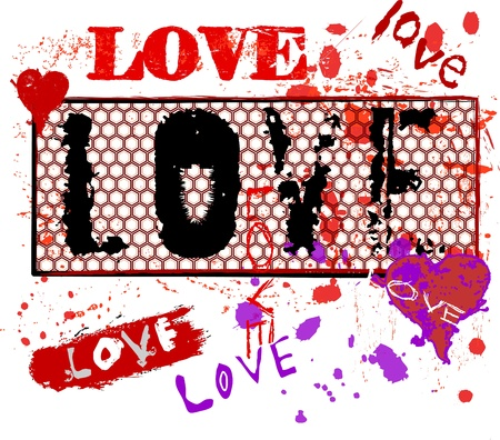 word love: Grungy love illustration