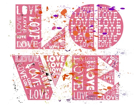 romantic date: Love concept, grungy with paint splatters.
