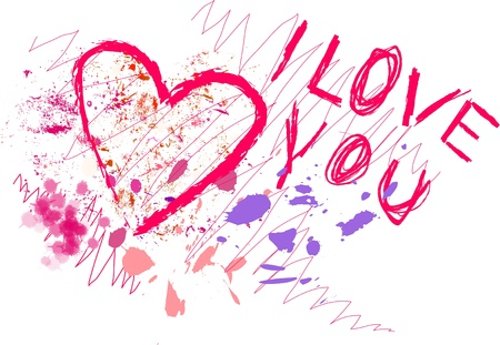 grungy style love concept, scribble Vector