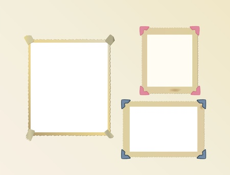 tattered: vintage photo frame set, mounted with photo corners and adhesive tape