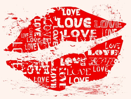 love concept, kiss, grungy style. Vector