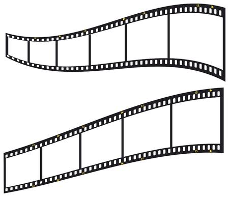 filmnegativ: 35-mm-Filmstreifen, leere Bilderrahmen, isoliert auf wei�em Hintergrund, Vektor-