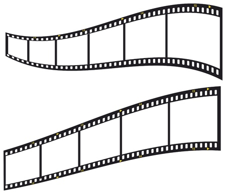 tira de película de 35 mm, marcos de fotos en blanco, aislada sobre fondo blanco, vector