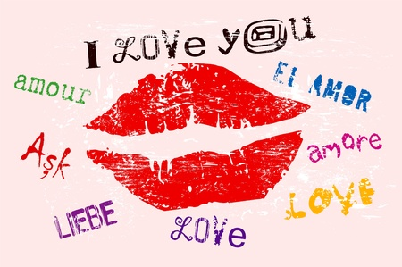 love concept, kiss, grungy style Vector