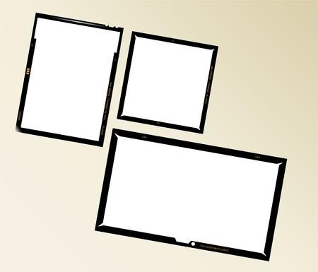 set of  large format negatives, photo frames Vector