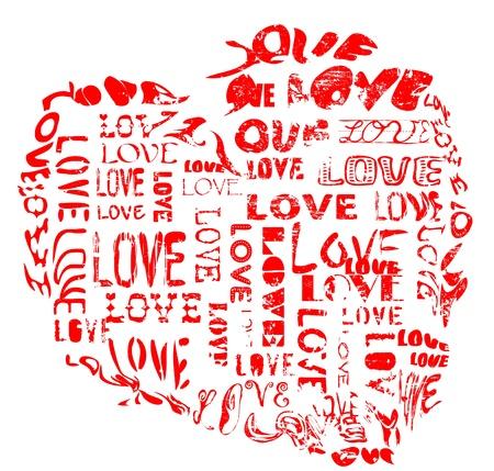 love concept, heart, grungy style Vector