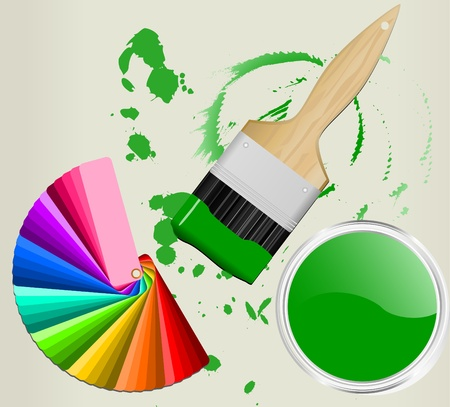 decorating: color fan with brush and paint can