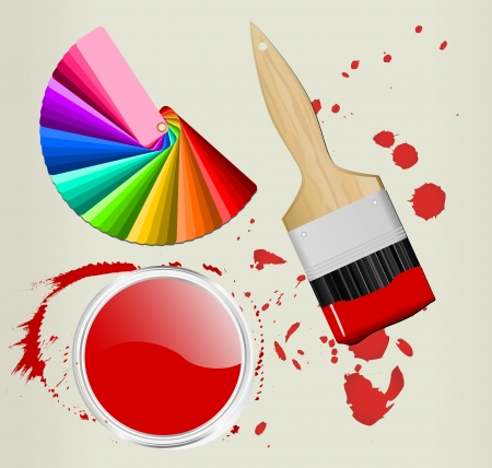 color fan with brush and paint can Vector