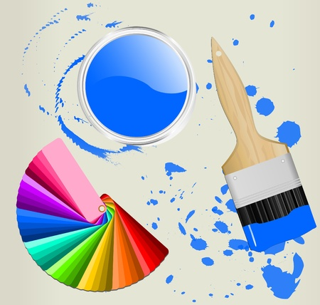 color fan with brush and paint can Stock Vector - 10550073