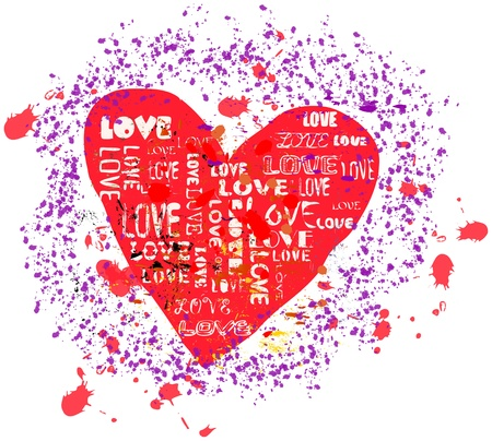 love concept, heart, grungy style,  illustration illustration