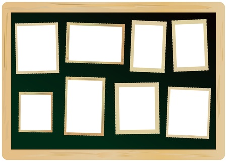 boundaries: blank vintage picture frames, attached on a blackboard