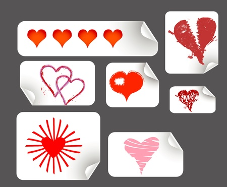 promotional stickers, w. various hearts Stock Vector - 10849994
