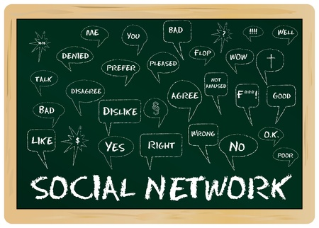 Social network concept, on chalkboard Vector