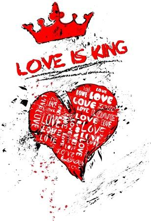 love concept, heart, grungy style, vector  Vector