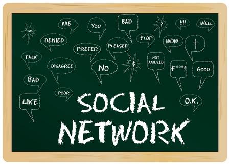 Social Network concept, handweitten on a black board Stock Vector - 11138532