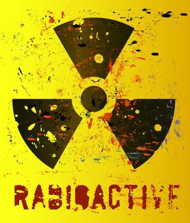 nucléaire d'avertissement, radiation signe grungy
