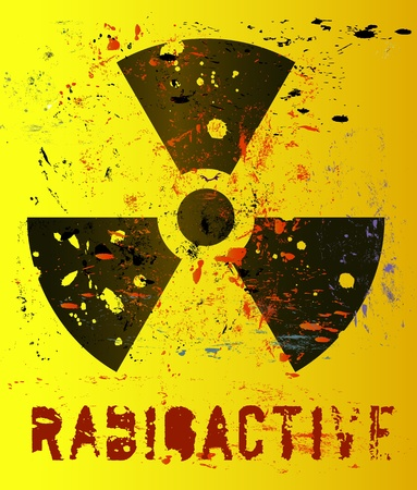 radioactive: nuclear warning, grungy radiation sign