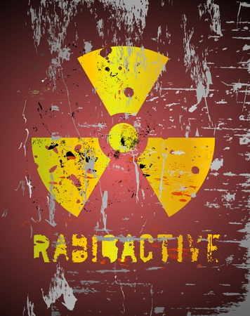 radiation sign: nuclear warning, grungy radiation sign