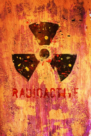 radioactive: nuclear warning, grungy radiation sign
