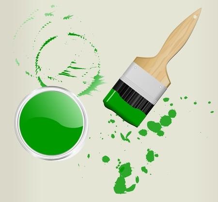 brocha y bote de pintura