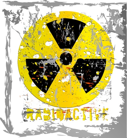 nuclear warning, grungy radiation sign, isolated on white background Vector