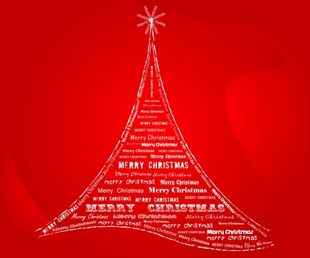 x mas background: Christmas tree made of words , vector illustration