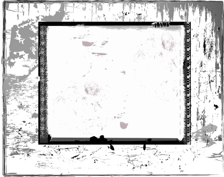 Battered instant picture frame, free space for pix, isolated on whie back Ilustração